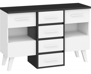 Komoda Nordis NOR-05 - čierna / biela