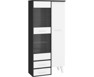 Vitrína Nordis NOR-17 - čierna / biela
