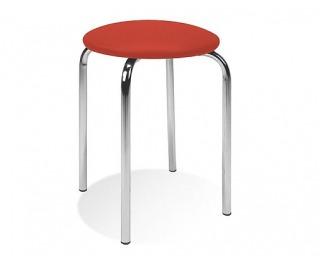 Stolička bez operadla Chico - chróm / červená látka (C2)