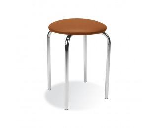 Stolička bez operadla Chico - chróm / hnedá ekokoža (V19N)