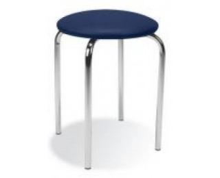 Stolička bez operadla Chico - chróm / modrá látka (C14)