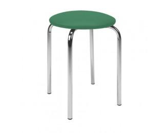 Stolička bez operadla Chico - chróm / zelená ekokoža (V47)