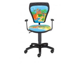 Detská stolička na kolieskach s podrúčkami Ministyle - čierna / vzor Dino
