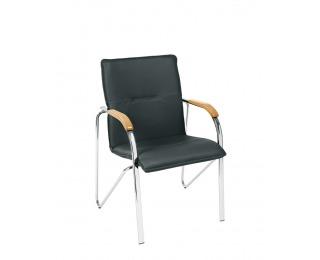 Konferenčná stolička Samba - chróm / čierna ekokoža (V04)