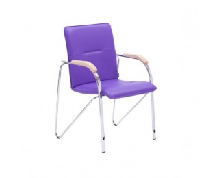 Konferenčná stolička Samba - chróm / biela ekokoža (V01)