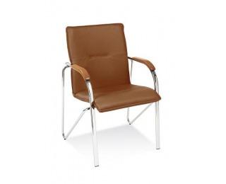 Konferenčná stolička Samba - chróm / hnedá ekokoža (V19N)