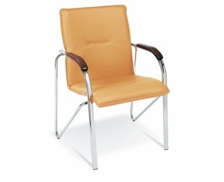 Konferenčná stolička Samba - chróm / oranžová ekokoža (V83)