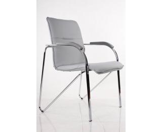 Konferenčná stolička Samba - chróm / šedá ekokoža (V28)
