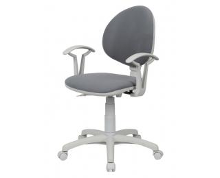 Detská stolička na kolieskach s podrúčkami Smart White - šedá ekokoža (V28)
