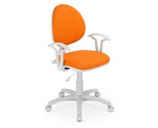 Detská stolička na kolieskach s podrúčkami Smart White - oranžová ekokoža (V83)