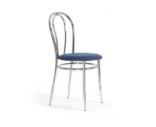 Jedálenská stolička Tulipan - chróm / modrá látka (C14)