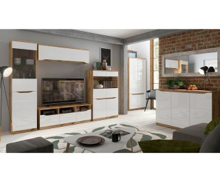 Obývacia izba Nuis - dub wotan / biely lesk