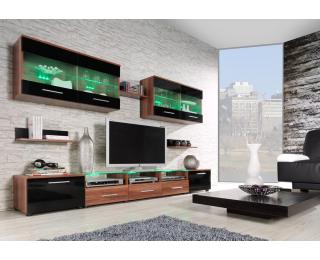 Obývacia stena Cama I - slivka / čierny lesk