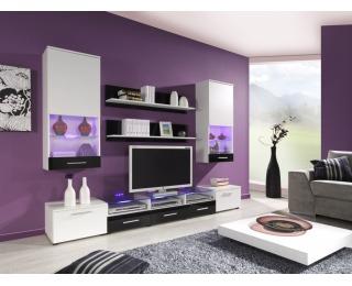 Obývacia stena Cama II - biela / čierny lesk