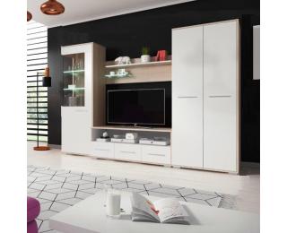 Obývacia stena Fredo - dub sonoma / biela matná