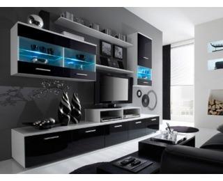 Obývacia stena Logo II - biela / čierny lesk