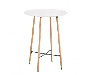 Okrúhly barový stôl Imam - biela / dub