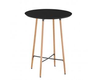 Okrúhly barový stôl Imam - čierna / dub