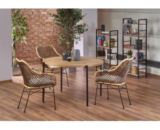 Okrúhly jedálenský stôl Morgan - dub zlatý / čierna