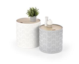 Okrúhly konferenčný stolík (2 ks) Alba - biela / sivá / prírodná