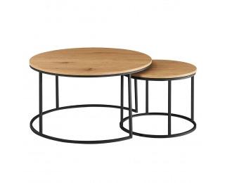 Okrúhly konferenčný stolík (2 ks) Iklin - dub / čierna