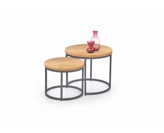 Okrúhly konferenčný stolík (2 ks) Oreo - dub zlatý / čierna