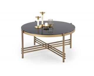 Okrúhly konferenčný stolík Ismena - čierna / zlatá