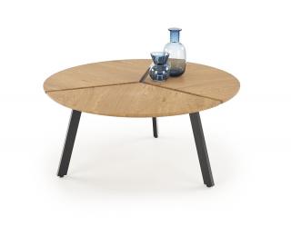 Okrúhly konferenčný stolík Luana - dub zlatý / čierna
