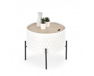 Okrúhly konferenčný stolík s úložným priestorom Sintra - biela / prírodná / čierna