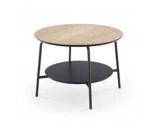 Okrúhly príručný stolík Genua LAW3 - prírodná / čierna