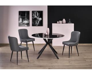 Okrúhly sklenený jedálenský stôl Avelar - čierna / biela