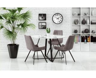 Okrúhly sklenený jedálenský stôl Looper - biela / čierna