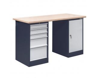 Pracovný stôl OL02L/O4O1 - grafit / svetlosivá