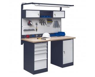 Pracovný stôl s nadstavbou a osvetlením OL02L/O4O1 - grafit / svetlosivá