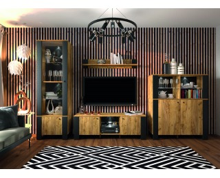 Obývacia izba Olen - čierna / craft zlatý