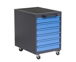 Mobilný kontajner k pracovnému stolu na kolieskach P3 - grafit / modrá