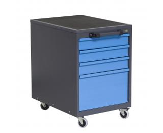 Mobilný kontajner k pracovnému stolu na kolieskach P4 - grafit / modrá
