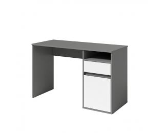PC stôl Bili - tmavosivý grafit / biela