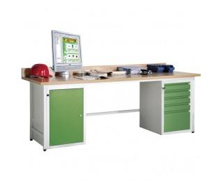 Dielenský PC stôl so skrinkou na PC a ventilátorom AJ - svetlosivá / zelená