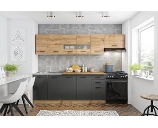 Kuchyňa Perla 260 - dub artisan / čierna / sivá