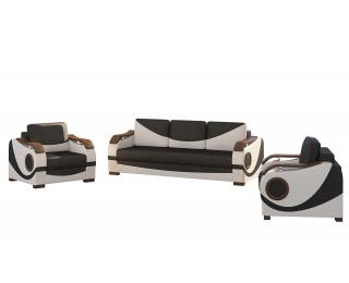 Rozkladacia sedacia súprava s úložným priestorom Pietro 3+1 - čierna / biela
