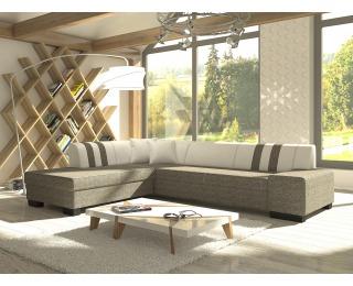 Rohová sedačka s rozkladom a úložným priestorom Pinero II L - sivá (Berlin 01) / biela (Soft 17)