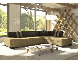Rohová sedačka s rozkladom a úložným priestorom Pinero II P - cappuccino / tmavohnedá