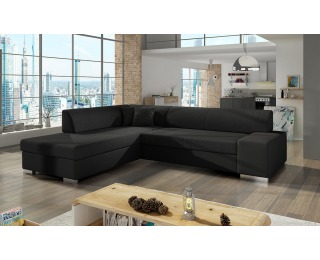 Rohová sedačka s rozkladom a úložným priestorom Pinero L - čierna (Sawana 14) / čierna (Soft 11)