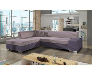 Rohová sedačka s rozkladom a úložným priestorom Pinero L - ružová / fialová