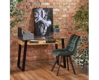 Písací stôl so sklom B-36 - priehľadná / dub medový / čierna