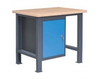 Pracovný stôl so zverákom PL01L/P1 - grafit / modrá