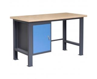 Pracovný stôl so zverákom PL02L/P1 - grafit / modrá