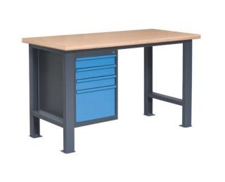 Pracovný stôl so zverákom PL02L/P4 - grafit / modrá