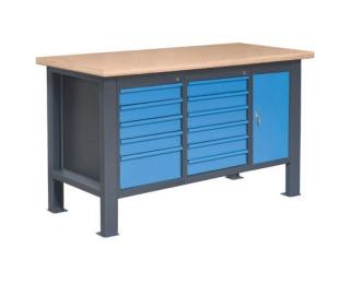Pracovný stôl PL02L/P6P3P10 - grafit / modrá